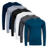 Men Classic Base Layer Top Crew Neck Cotton Casual Long Sleeve T-Shirt Tee S-3XL