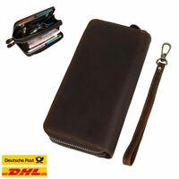 Herren Leder lange Brieftasche Karte Reißverschluss Clutch Geldbörse Handtasche