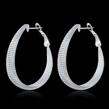 Wholesale 925Sterling Silver Jewelry Fish Mesh Net Women Earrings Hoop EA064