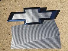 2 Grey Silverado Carbon Fiber Universal Chevy Bowtie Vinyl Sheets Emblem Overlay
