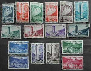 Andorra 1955 regular issue, Yv #141-156, MNH, CV=215EUR