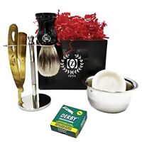Men Shaving Gold Shavette Set Gift Kit Classic Cut Throat Razor Shave Brush Drip