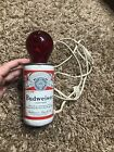 Vintage Budweiser Can Fleco Industries Lamp - Tested working - Red Bulb