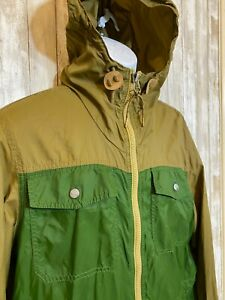 Vintage EDDIE BAUER Green Raincoat Hooded Jacket Retro Hiking Men's Size M