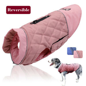Reversible Winter Dog Coat Jacket Waterproof Warm Clothes Small Large Apparel