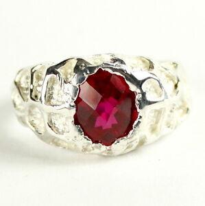 CREATED RUBY Sterling Silver Men's Ring, Handmade • SR168