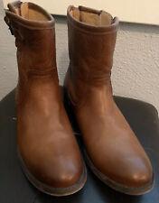 Frye Pippa Back Zip Leather Boots Bootie Cognac 8.5 B 76998 COG NICE!
