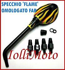 SPECCHIO RETROVISORE FLAME DX SX MOTO TUNING CUSTOM YAMAHA OMOLOGATO FAR 6026