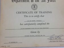 Vintage United States Air Force 1960 Certificate of Training 25235