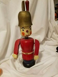 """Christmas Antique Spool Soldier 1930's  12.5 """" tall"""