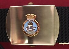 HMS Ark Royal Military Style Black Nylon Webbing Belt with Bright Brass Buckle