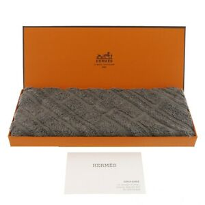 Authentic HERMES Carre 32 hand Towel Gray Cotton #f25578