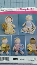 """Simplicity Pattern 2809 15"""" Soft Doll Clothes & 6 1/2"""" Cat Bear Toy Plush"""