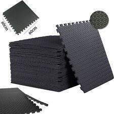 Black Interlocking Floor Mat Soft Foam Workshop garage office Yoga Gym Game Mats