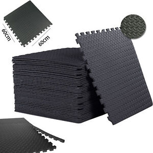 Black Interlocking Floor Mat Soft Foam Workshop garage office Yoga Gym Game Mats