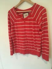Ladies Ambercrombie And Fitch Red White Stripe Scoop Neck Top Size M <SW1597