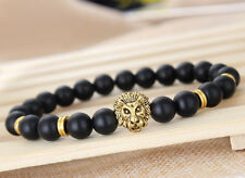 Mens Zenger Matte Agate Stones Gold Lion Head Beaded Charm Mala Yoga Bracelet