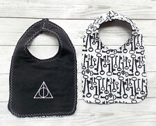 Harry Potter Deathly Hallows Baby Bib - Reversible Flannel