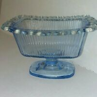 Vintage Blue Indiana Glass Footed Ribbed Open Lace Candy Dish