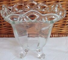 Vintage Depression Glass Clear Block Open Lace Footed Candy Dish Bowl 5-1/2 inch