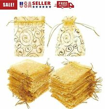 "50/100Pcs 4""x5"" Golden Drawstring Organza Pouches Wedding Party Favor Gift Bags"
