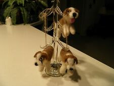 Wool Dog Christmas Tree Ornament Brown & White Lot of 3 Pre-Owned