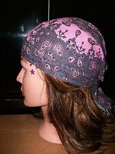 Zan Headwrap Bandanna Womens Head Wrap - Grey Purple with Pink Paisley