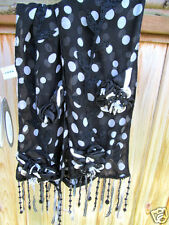 Mary Frances Black White Polka Dot Garden Spot Embellished Beaded Scarf New