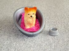 "Barbie Pets Yorkie Yorkshire Terrier Dog 2"" Silver Bed Bowl Lot B 11"