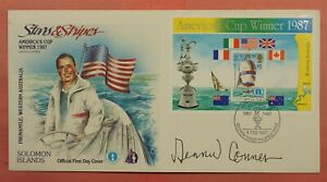 1987 SOLOMON ISLANDS #575 AMERICA'S CUP S/S FDC COVER SIGNED DENNIS CONNER