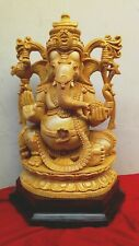 Ganesha Cedar Wood Sculpture Hand Carved Statue Hindu Temple Murti Figurine Idol