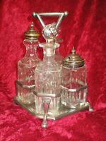 ATQ 5 Pc Cruet Castor Condiment Set English Silver Plate 8 Sided Cut Glass Jars