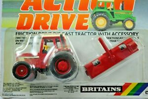 BRITAINS Action Drive IH INTERNATIONAL Type Tractor w FARMYARD SWEEPER BRUSH MOC