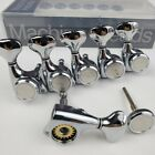 6 In Line Silver Guitar Tuning Pegs Locking Tuners Machine Heads for GOTOH Style for sale