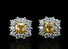 1.32 CT NATURAL DIAMOND CUSHION FANCY YELLOW 18K WHITE GOLD WOMEN'S EARRINGS
