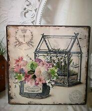 Blechschild Wandbild Bild Roses Postale Retro Shabby Vintage 30x30cm
