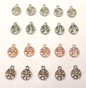 5 x RHINESTONE Silver/Rose Gold TREE OF LIFE Pendants Charms Jewellery Crafting