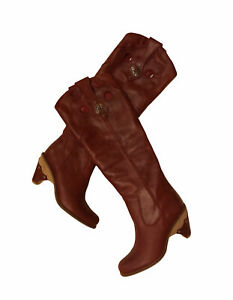 Dior 1947 Boots Cowboy Boho Western Vintage Leather Burgundy Size 38 Italy