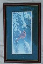 Wilhelm Goebel Cardinal Snow Pine Tree Signed Artist's Proof 55/75, Framed