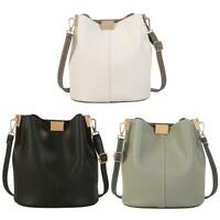 Simple Pure Women Leather Shoulder Bags Casual Crossbody Messenger Bucket