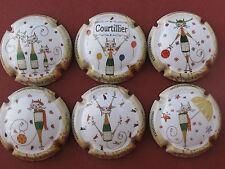 Série de  6 . capsules  COURTILLIER-LINE, bouteille chat