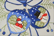 A BLUE CHRISTMAS OF SNOWGLOBE ORNAMENTS! VTG GERMAN TABLECLOTH SNOWMAN VILLAGE