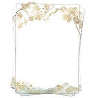 50 Blatt Briefpapier A4 Motivpapier Hochzeitspapier Orchideen gold