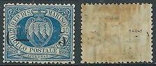 1892 SAN MARINO SOPRASTAMPATO STEMMA 5 SU 10 CENT LUSSO MH * - X3