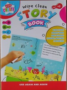 Kids create wipe clean reusable story book educational reading writing drawing