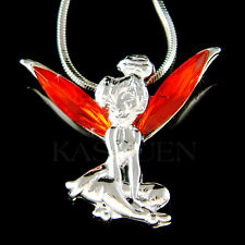 w Swarovski Crystal ~Hot Red Tinkerbell Tinker Bell ANGEL Wings Necklace Jewelry
