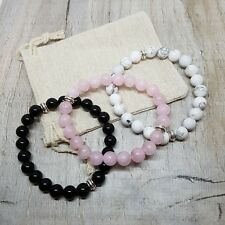 Be Calm Stack 3 Bracelet Set Natural Stone Healing Crystals,Gifts Ideas