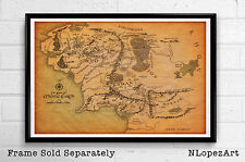 Map of Middle Earth from The Lord of the Rings and The Hobbit Poster Print 11x17