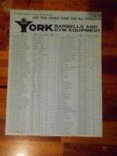 YORK BARBELL COMPANY Gym Equipment products ORIGINAL Order Form (4 pages) 6-75
