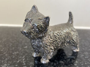 Vintage Silver Plated Dog Ornament West Highland Terrier Westie Scotty Figurine